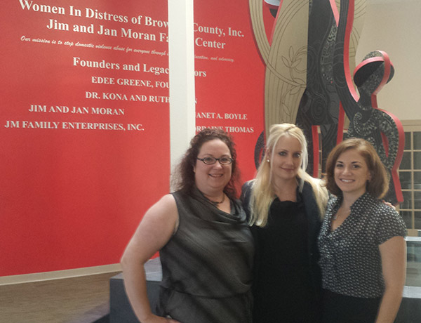BCWLA Board Members Beth Feder, Allegra Clemente, and Madeleine Mannello Scott presented to the staff  of Women In Distress to assist in helping clients navigate through the Family Court System.